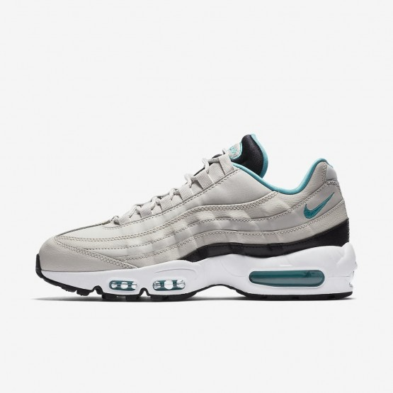 742CKXMY Mens Light Bone/Black/White/Sport Turquoise Nike Air Max 95 Essential Lifestyle Shoes