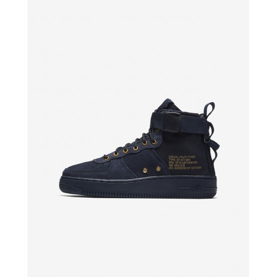 742NEWOX Boys Obsidian/Black Nike SF Air Force 1 Mid Lifestyle Shoes