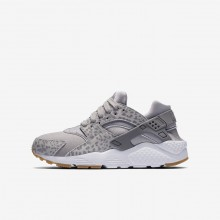 756HTRZI Chaussure Casual Nike Huarache SE Fille Grise/Marron Clair/Blanche