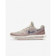 768YLHQB Womens Pale Grey/Sunset Glow/Taupe Grey/Metallic Silver Nike LunarEpic Low Flyknit 2 Running Shoes