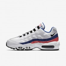 791MZPSE Mens White/Solar Red/Ultramarine/Black Nike Air Max 95 Essential Lifestyle Shoes