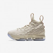 794NJCOP Boys String/Vachetta Tan/Sail Nike LeBron 15 Basketball Shoes