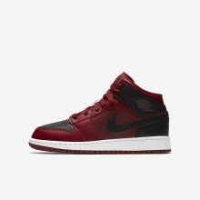 794WTZSI Boys Team Red/Summit White/Gym Red Air Jordan 1 Mid Lifestyle Shoes