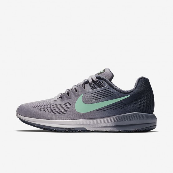 799AGQNT Womens Provence Purple/Thunder Blue/Light Carbon/Green Glow Nike Air Zoom Structure 21 Running Shoes