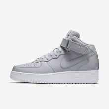 805FLTND Mens Wolf Grey/White Nike Air Force 1 Mid 07 Lifestyle Shoes