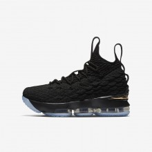 809UVGHT Boys Black/Metallic Gold Nike LeBron 15 Basketball Shoes