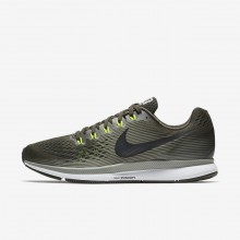 831AVYQW Mens Sequoia/Dark Stucco/Volt/Black Nike Air Zoom Pegasus 34 Running Shoes