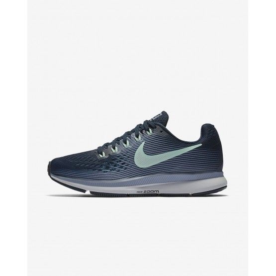 848SKFUL Womens Armory Navy/Glacier Grey/Black/Mint Foam Nike Air Zoom Pegasus 34 Running Shoes