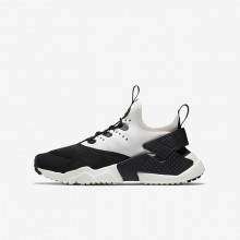 863LHQCB Boys Black/White/Sail Nike Huarache Run Drift Lifestyle Shoes
