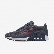 885HMVUS Womens Light Carbon/White/Fuchsia Glow/Pink Force Nike Air Max 90 Ultra 2.0 Flyknit Lifestyle Shoes