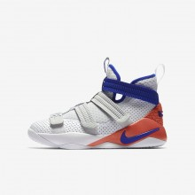 909DTMSZ Boys White/Infrared/Pure Platinum/Racer Blue Nike LeBron Soldier XI SFG Basketball Shoes