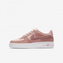910BCSNI Girls Coral Stardust/White/Rust Pink Nike Air Force 1 LV8 Lifestyle Shoes