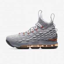 918ZGBOS Boys Black/Dark Grey/Wolf Grey/Safety Orange Nike LeBron 15 Basketball Shoes