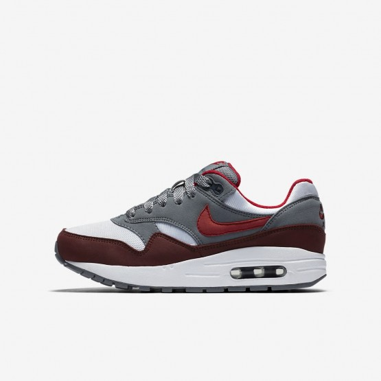 931DYMHQ Boys White/Cool Grey/Team Red/University Red Nike Air Max 1 Lifestyle Shoes