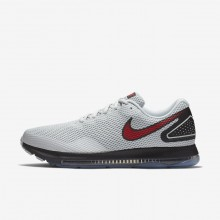 942GLIAS Mens Pure Platinum/Black/University Red Nike Zoom All Out Low 2 Running Shoes