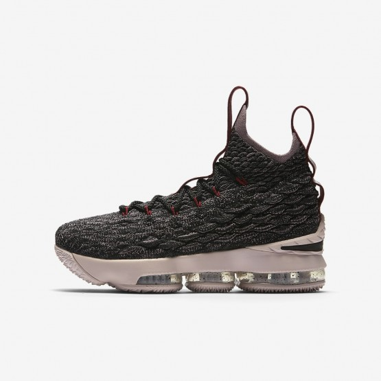 962IEFOH Boys Black/Team Red/Metallic Gold Nike LeBron 15 Basketball Shoes